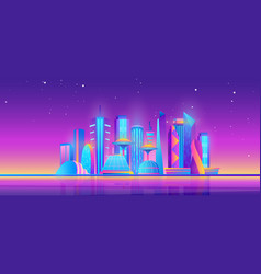 futuristic night city skyline purple future vector image