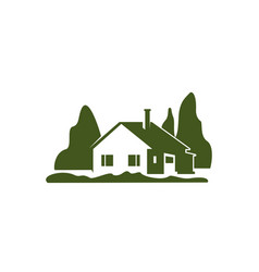 Green villa house garden trees icon vector