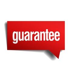 Guarantee red 3d realistic paper speech bubble vector