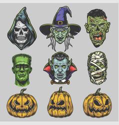 halloween creatures vintage set vector image