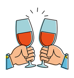 hands toasting with wine glasses vector image