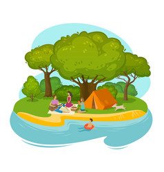 Happy family having a rest on a picnic outdoors vector