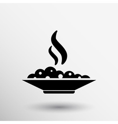 Hot meal cup steamy bowl food court logo vector
