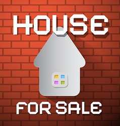 House For Sale Paper Title on Red Brick Wall vector