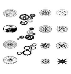 Isometric black design elements set vector