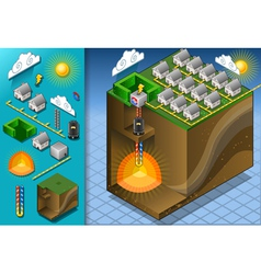 Isometric geothermal heat pump diagram vector