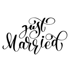 Just married text on white background vector