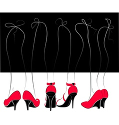Legs in red and black shoes vector