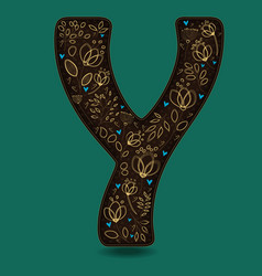Letter y with golden floral decor vector