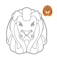 Lion coloring book Head of predator with shaggy vector image