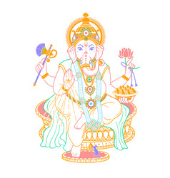 Lord ganesh linear style icon vector
