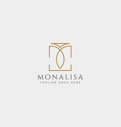 M initial beauty cosmetic line art logo template vector