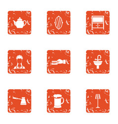 Maidservant icons set grunge style vector