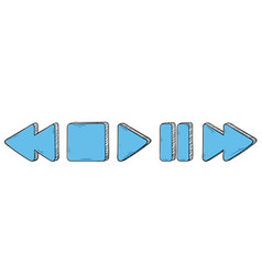 media buttons blue signs hand drawn sketch vector image