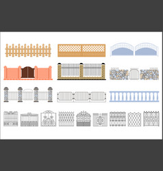 metal grid fencing set of different designs vector image