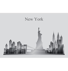 New York city skyline silhouette in grayscale vector