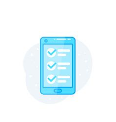 Online survey form in smartphone vector