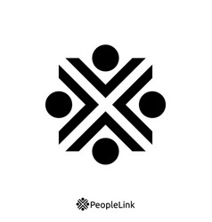 people unity logo with initial letter x sign logo vector image