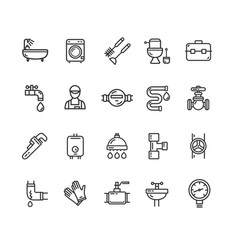plumbing signs black thin line icon set vector image