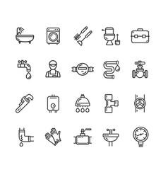 plumbing signs black thin line icon set vector image