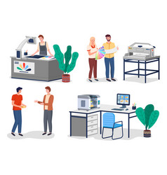 Printing house different equipment set printer vector