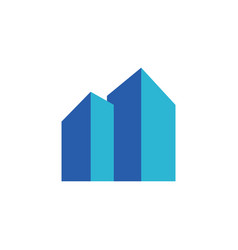 real estate or building with blue color logo vector image