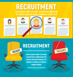 recruitment banner set flat style vector image