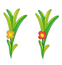 Red and orange flower with many green leaves vector
