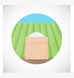rice in sackcloth bag flat icon vector image