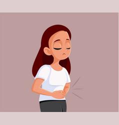 Sad teen girl having cramps vector