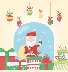santa with bag gifts bell celebration merry vector image