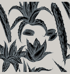 Seamless pattern with hand drawn stylized aloe vector