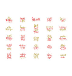 set of 25 red and gold hand lettering merry vector image