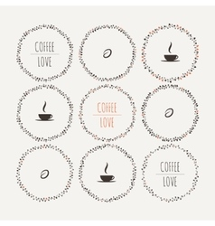 Set of coffee framework of the vines with vector