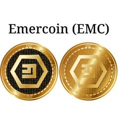 Set of physical golden coin emercoin emc vector