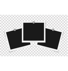 set of square frames template on metal pins with vector image