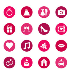 set wedding icons on color background vector image