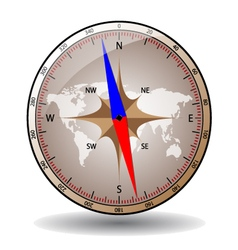 Shiny glass compass with world map vector image