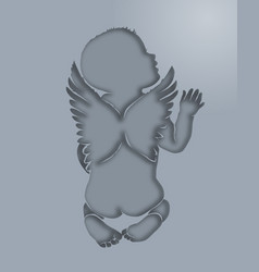 silhouette kid angel paper layers vector image