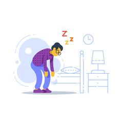 Sleepy old woman sleep deprived or disorder vector