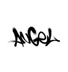 sprayed angel font graffiti with overspray vector image