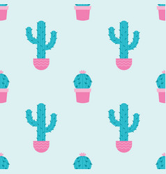 Succulents and cacti plants seamless pattern vector