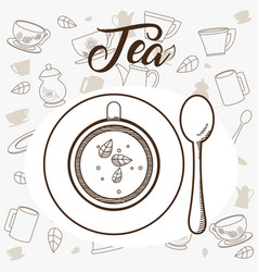 Tea cup with spoon topview vector