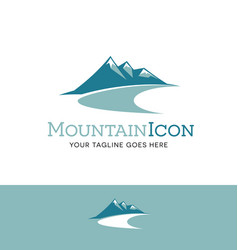 teal mountains logo vector image