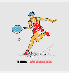 tennis player with racket outline tennis vector image