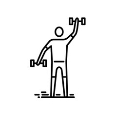 thin line icon man exercising with bumbbell vector image