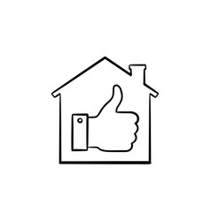 Thumb up house hand drawn outline doodle icon vector