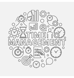 Time management line round vector image
