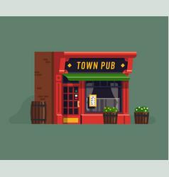 Town pub facade vector