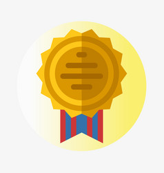 Trophy champion medal flat icon winner gold vector